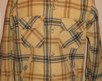1970s Mens/Womens Plaid Wool Lumberjack/ Shirt Jacket/ Coat Size XS-S-Mens, M- Womens By Baron Woolen Mills