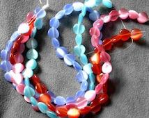 full strand 32pcs Colorful Opal Cat Eyes 12mm round Nature quartz stone beads B11