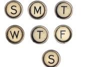 Typewriter keys days of the week magnets