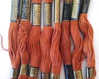 8 Skeins of Vintage Brown J&P Coates Embroidery Floss - #51-C