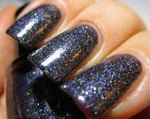 Black Hole Black Silver Holo Glitter Nail Polish Galaxy nail 5 free nail polish handmade indie nailpolish vegan polish