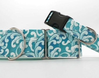Wave Upon Wave Dog Collar (Martingale, Buckle or Tag)