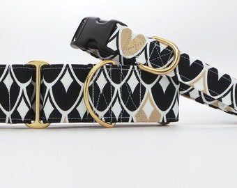 Black and Gold Scales Dog Collar (Martingale, Buckle or Tag)