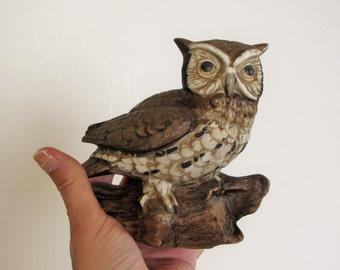 Vintage Small Owl Figurine - Owl on Log