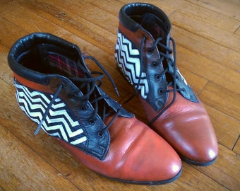 Vintage Twin Peaks Painted Ankle Boots 7.5