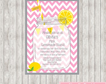 5X7 Pink Chevron Lemonade Birthday Invitation