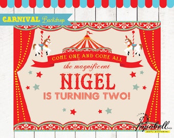 Circus Backdrop 80x60 inches for Circus Birthday. Personalized Carnival Backdrop Printable. DIY Circus Dessert Table Backdrop. DIGITAL FILE.
