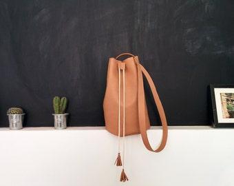 Vegan Leather Bag Beige Bucket Bag  Shoulder Leather Bag  Crossbody Bucket Bag  Women Hanbags