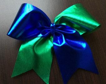 Metallic Green / Metallic Blue Cheer Bow