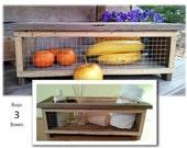 THREE Rustic Reclaimed Wood Wire Storage Display Basket Veggie Fruit Kitchen Bathroom Organizer Industrial Farmhouse Decor Mothers Day Gifts