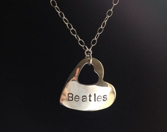 Beatles Inspired Sterling Silver Cupped Beatles Heart