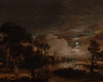 "Aert van der Neer : ""Moonlit Landscape with a View of the New Amstel River and Castle Kostverloren"" (1647) - Giclee Fine Art Print"