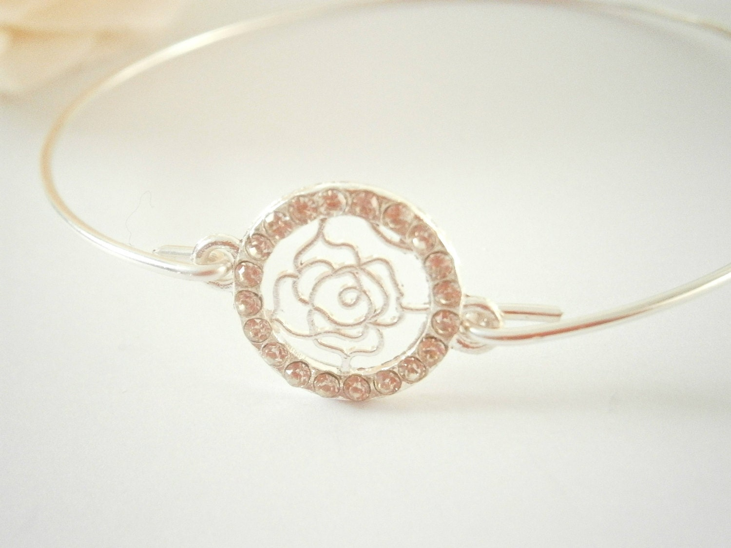 Rose Bangle Bracelet - Silver Wire Bangles - Stacking Bracelets ...