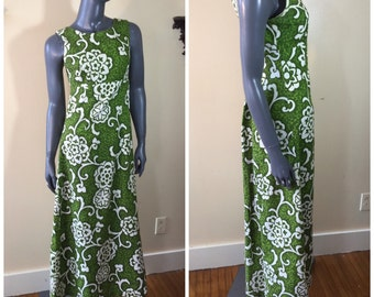 Vintage hawaiian dress 1960s tiki dress mod Luau Dress Vintage 60s Abstract Floral Tiki opical  Hawaii  small medium