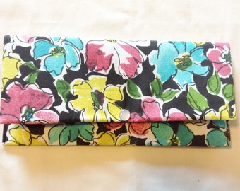 Floral Watercolor Doodled Print Wallet