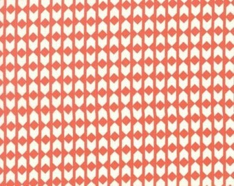Cotton and Steel Moonlit Coral orange and Cream Off White Arrow Arrowhead fabric  Rashida Coleman-Hale BTY 1 Yd