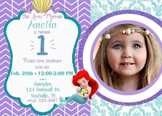digital ariel 1st birthday invitation baby ariel invitation, Birthday invitations