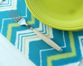 Teal Placemats ~ Set of 6 Fabric Placemats ~ Chevron Stripe Placemats ~ Green Cloth Place Mats ~  Table Linens ~ Kitchen Placemats