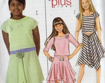 Butterick Pattern 4546 KNIT SKIRTS & TOPS Girls sizes 7 8 10 12 14