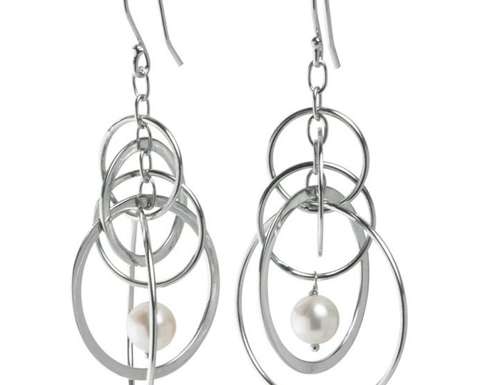 Sterling Silver Earrings with Cable, Circles and White Freshwater Cultured Pearl Drop ~ Free Shipping