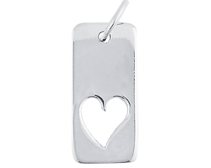 Sterling Silver Heart Cutout Tag Charm / Pendant ~ Free Shipping