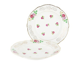 "SPECIAL OFFER - Set of 2 vintage soup plates - french earthenware Luneville - ""ROSES"""