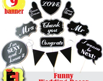 10 Large Photobooth Props Wedding Signs Chalkboard Photo Booth Speech Bubbles Banner message Signs