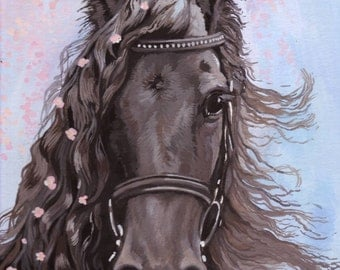 Black Beauty Horse amongst Pink Blossom Original Goache Painting