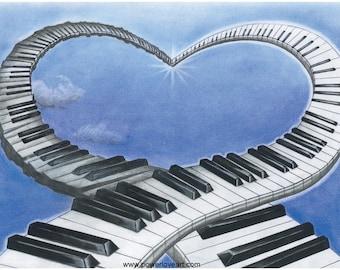 A5 Art postcard ~ The Music Of Love Art Print