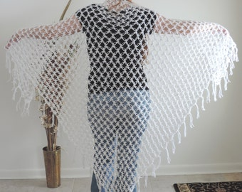 """Crocheted White Lover's Knot Solomon's Knot Triangle Shawl with Fringe, 78"""" x 55"""", Wedding, Prom, Handmade"""