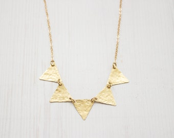 Solar Hammered Triangle Bunting Necklace