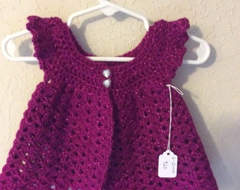 Raspberry Sparkle Infant Angel Wings Sweater/Pinafore