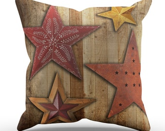 Rusty Stars on Barnwood Pillow, Western Photo Pillow - 4 Sizes to Choose from.  Removable Cover with cotton insert.