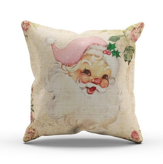 Shabby Chic Christmas Pillows : Vintage Style Shabby Chic Pink Santa Christmas by InkandRags