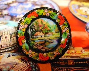 Russian Folk Style Miniature Plate for Dollhouse 1:12 scale