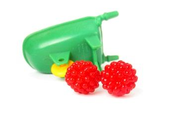 Red Raspberry Earrings, Realistic Fake Food Cute CLIP on Earrings OR Post, Red Clip Earring Stud Fruit Jewelry, Play Food, Red Earrings