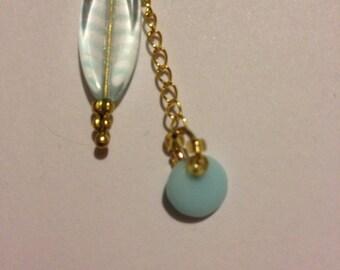 light blue gold double dangle earrings