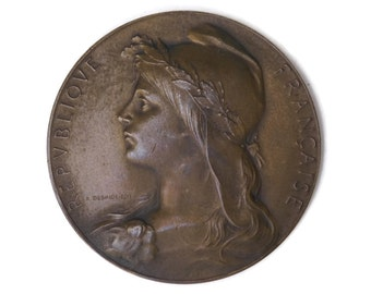 French Bronze Medal. French Marianne. French Art Medal. Agricultural Award. French Republic Symbol.