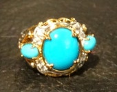 Turquoise Ring Sleeping Beauty Sterling Silver 18K Gold Overlay