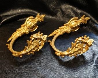 Pair French Gilt Bronze Drapery Hold Backs, Antique Circa 1850