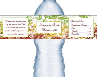 98 Fall Wedding Water Labels