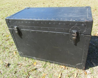 Vintage Metal Trunk, Military Film Trunk, Container, Military Trunk, ww2 trunk,foot locker,black,