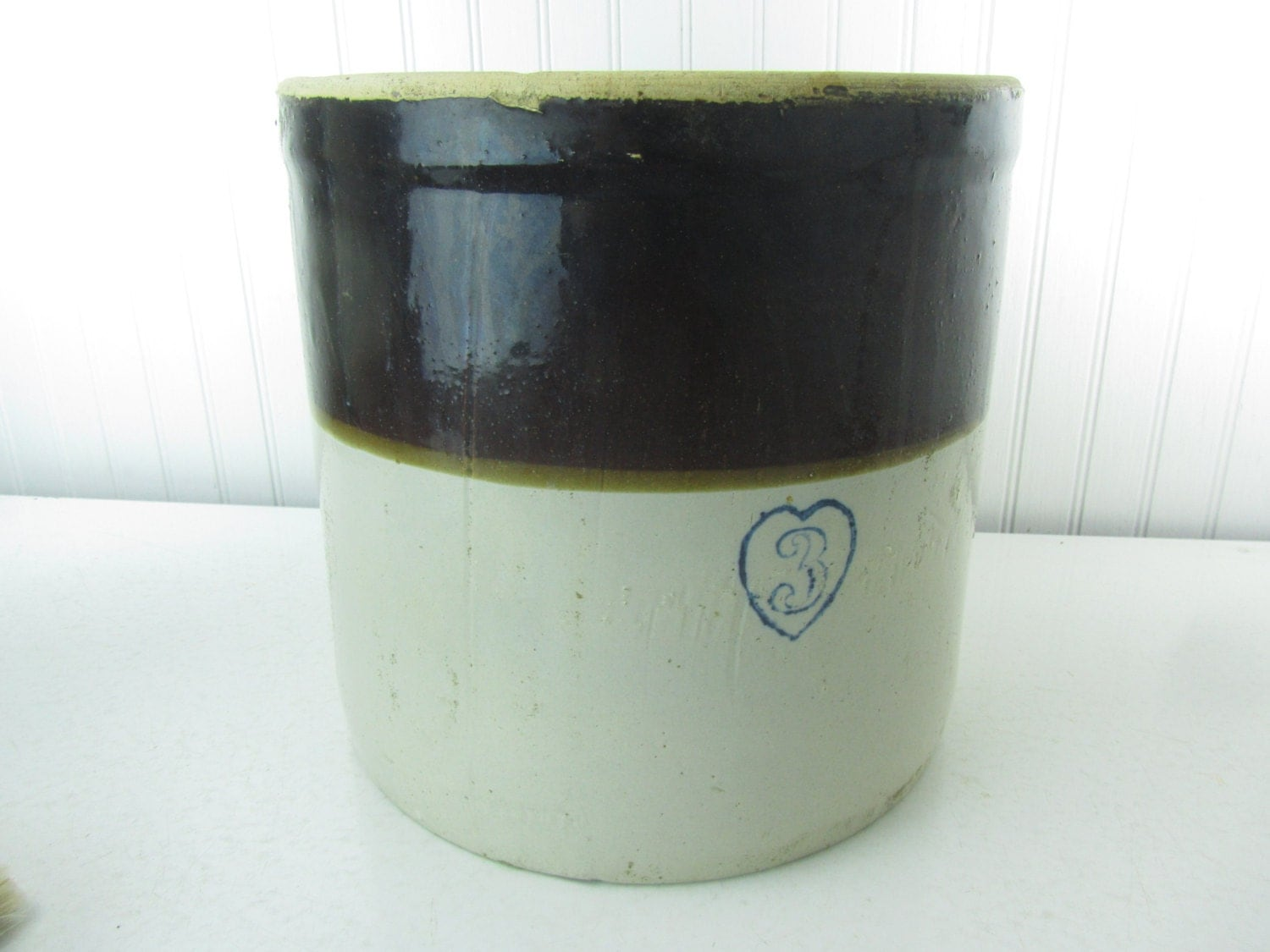 Antique Crock Blue Heart Logo Pottery Crock Three Gallon