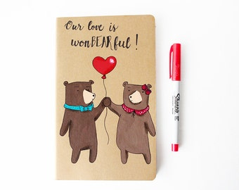 MADE TO ORDER Moleskine notebook with two bears in love and heart balloon ,illustrated journal,kraft brown,red,love couple journal