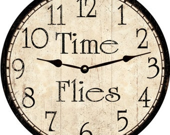 Time Flies Clock- Black and White Time Flies Clock