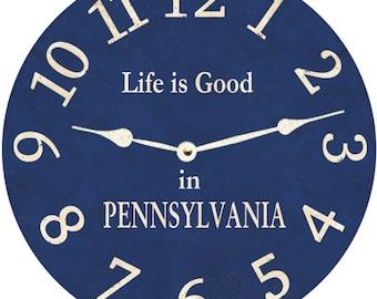 Blue Clock- Personalized Blue Pennsylvania Clock