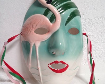 Beautiful Ceramic Vintage Vandor Flamingo Turquoise Pink Mask Glazed Porcelain Wall Art