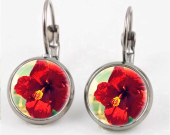 Digital Hibiscus Earrings