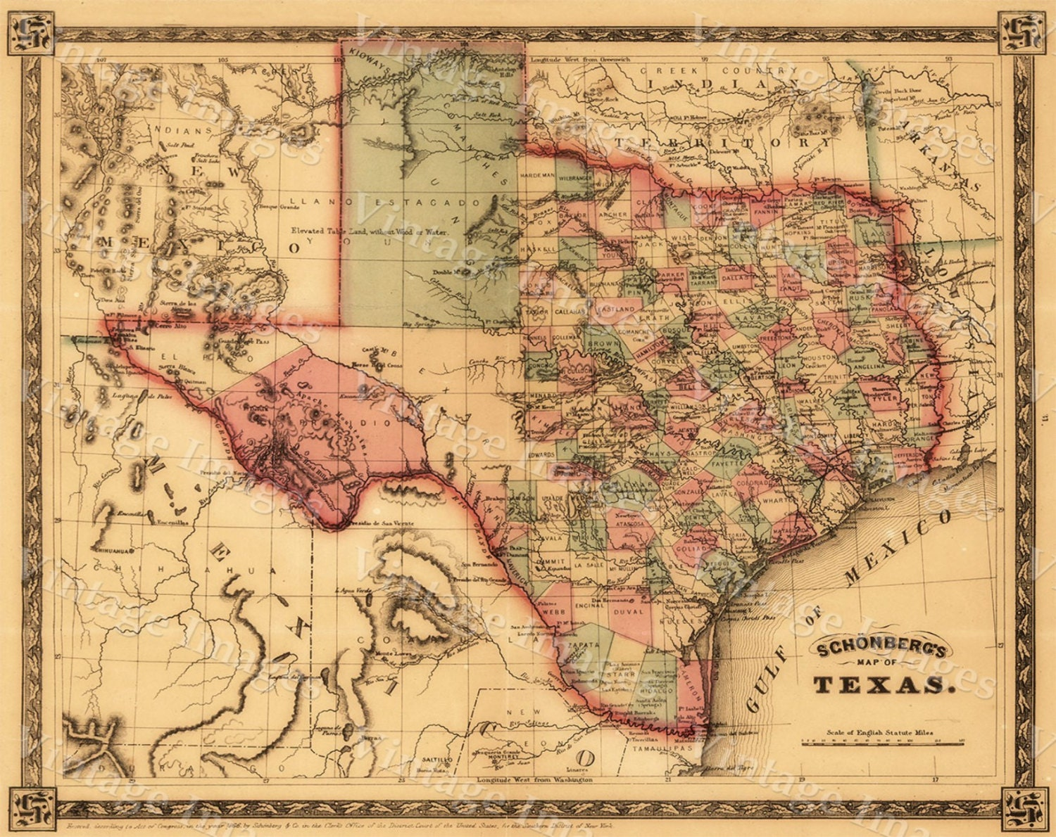Giant 1866 Texas Old West Map Antique Restoration Hardware Style Wall Map Fine Art Print Poster