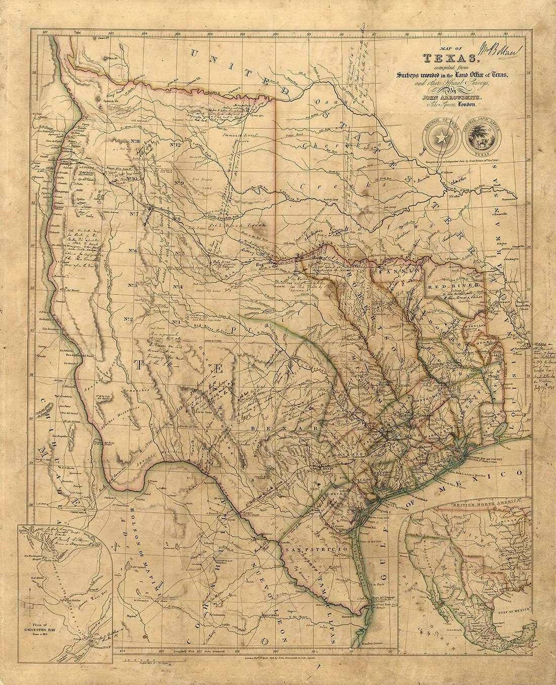 Old Texas wall Map 1841 Historical Texas map Antique